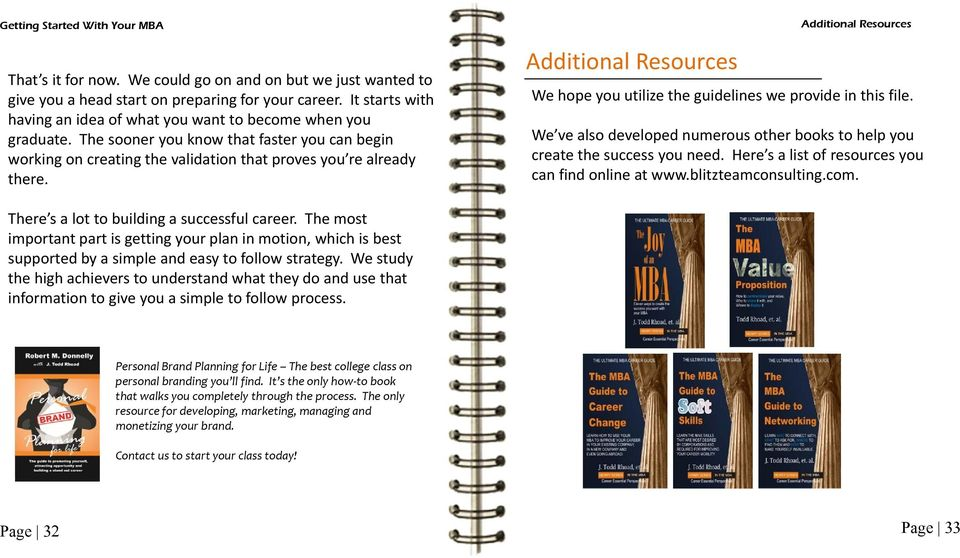 Additional Resources Additional Resources We hope you utilize the guidelines we provide in this file. We ve also developed numerous other books to help you create the success you need.