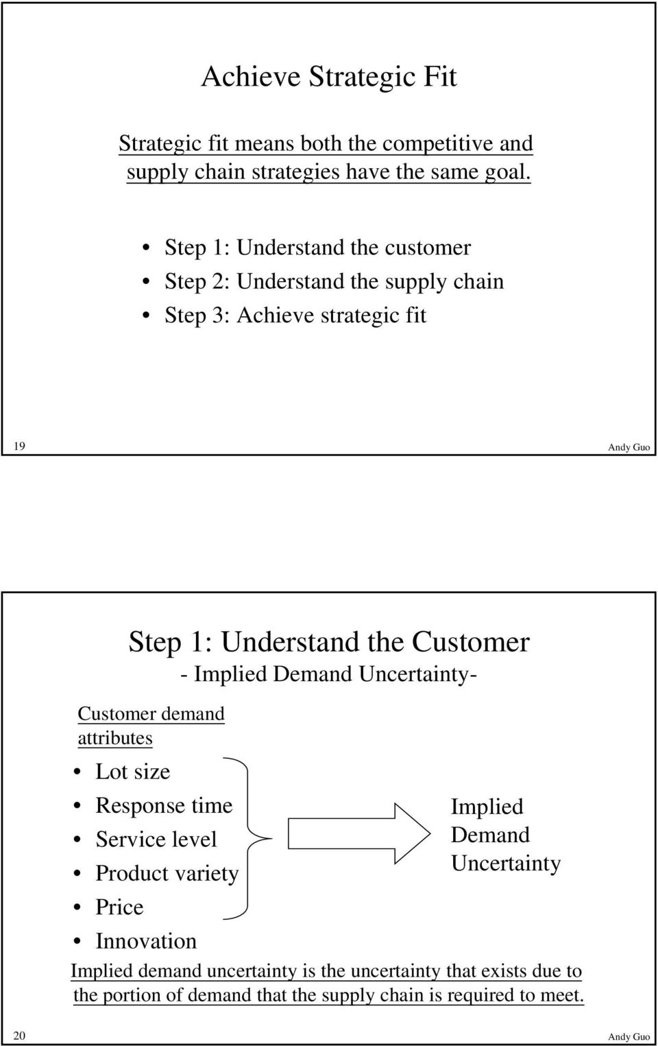 Customer - Implied Demand Uncertainty- Customer demand attributes Lot size Response time Implied Service level Demand Product variety
