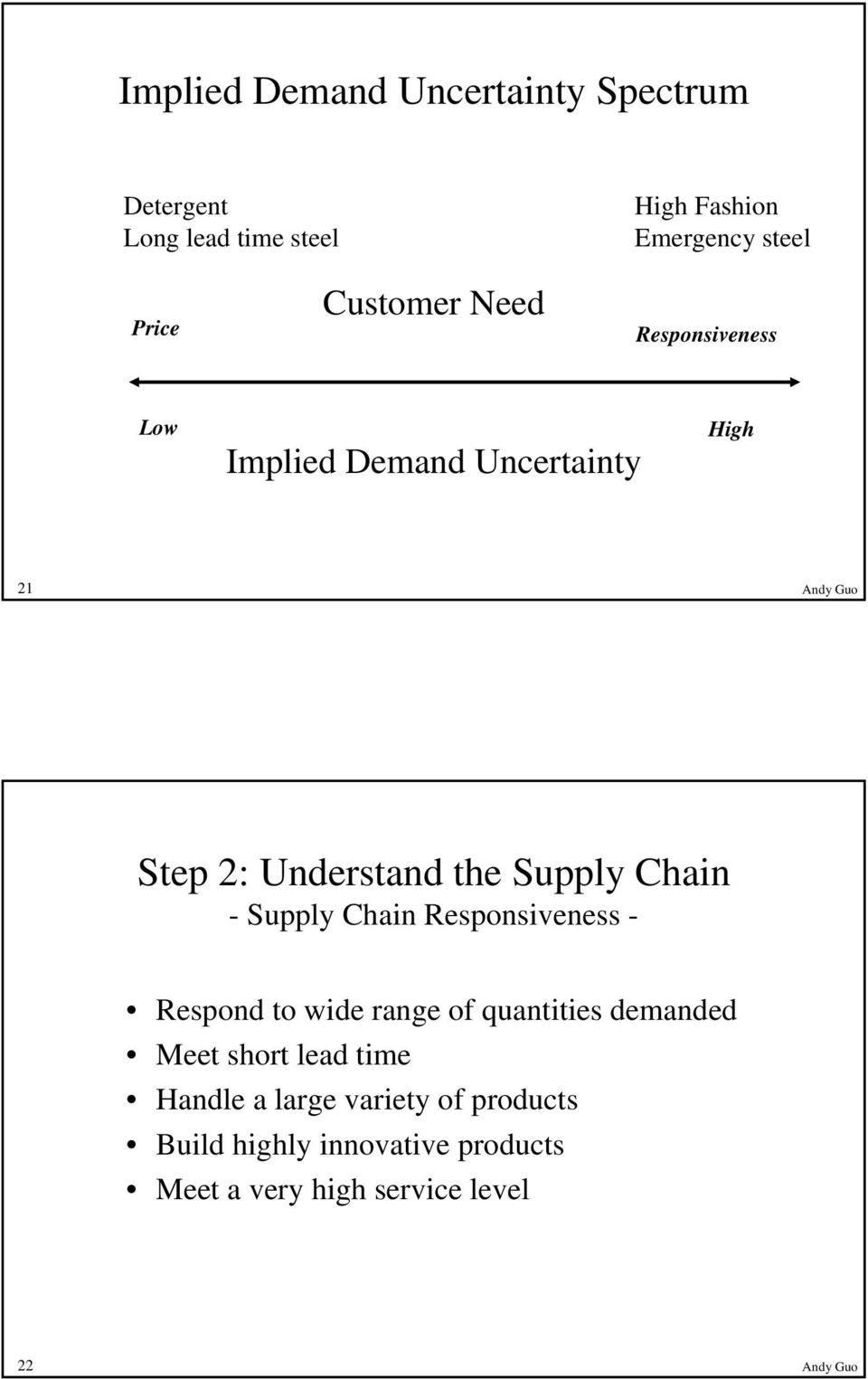 Supply Chain - Supply Chain Responsiveness - Respond to wide range of quantities demanded Meet short lead