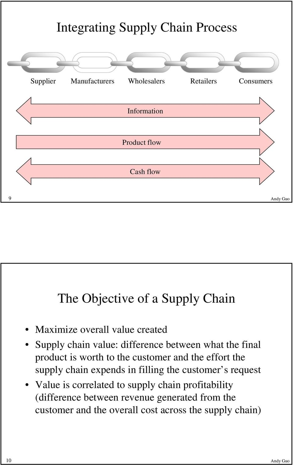 is worth to the customer and the effort the supply chain expends in filling the customer s request Value is correlated to supply