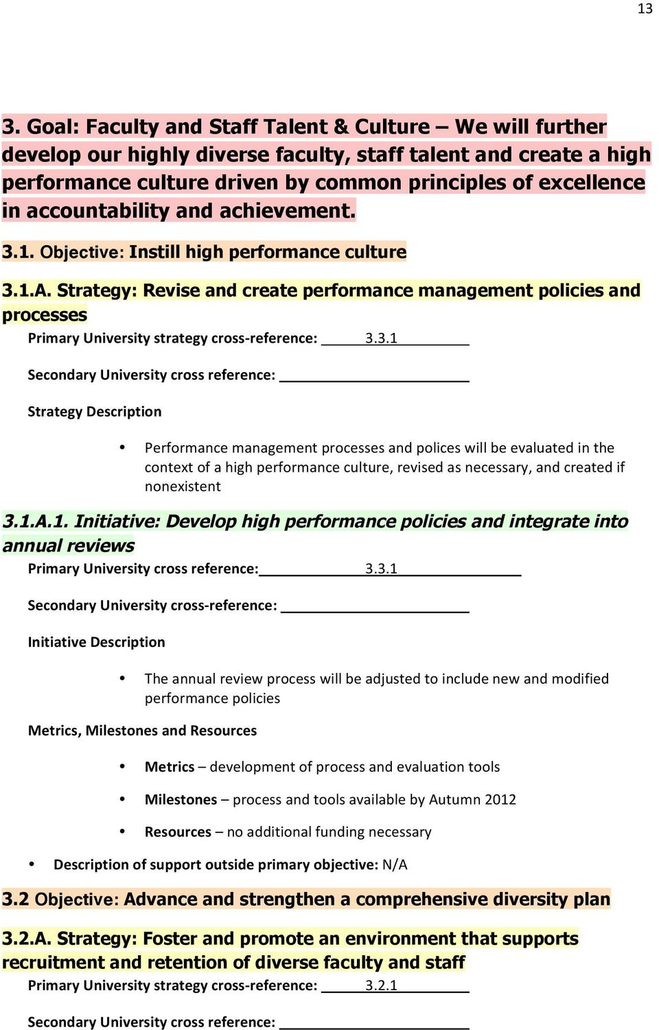 Strategy: Revise and create performance management policies and processes Primary University strategy cross- reference: 3.