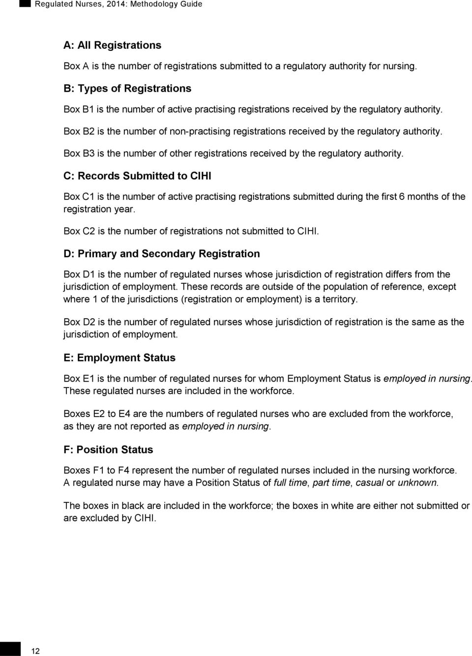 Box B2 is the number of non-practising registrations received by the regulatory authority. Box B3 is the number of other registrations received by the regulatory authority.
