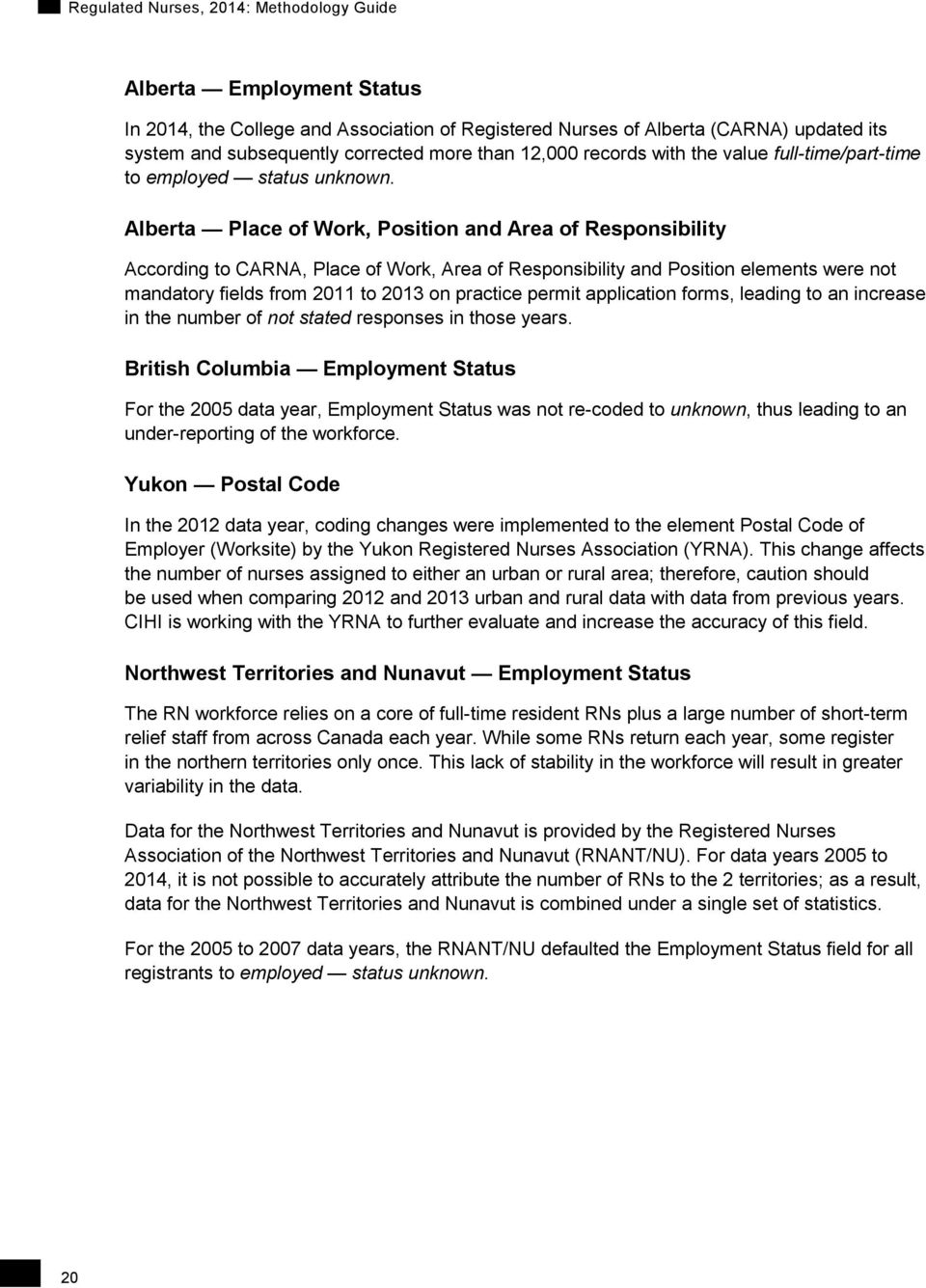 Alberta Place of Work, Position and Area of Responsibility According to CARNA, Place of Work, Area of Responsibility and Position elements were not mandatory fields from 2011 to 2013 on practice