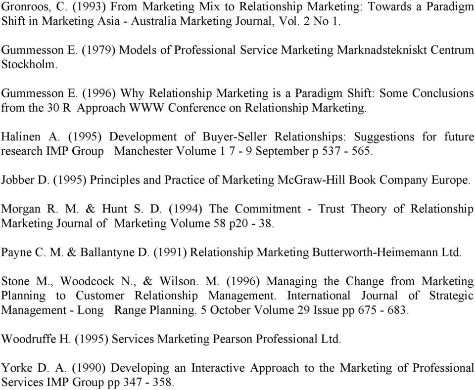 (1996) Why Relationship Marketing is a Paradigm Shift: Some Conclusions from the 30 R Approach WWW Conference on Relationship Marketing. Halinen A.