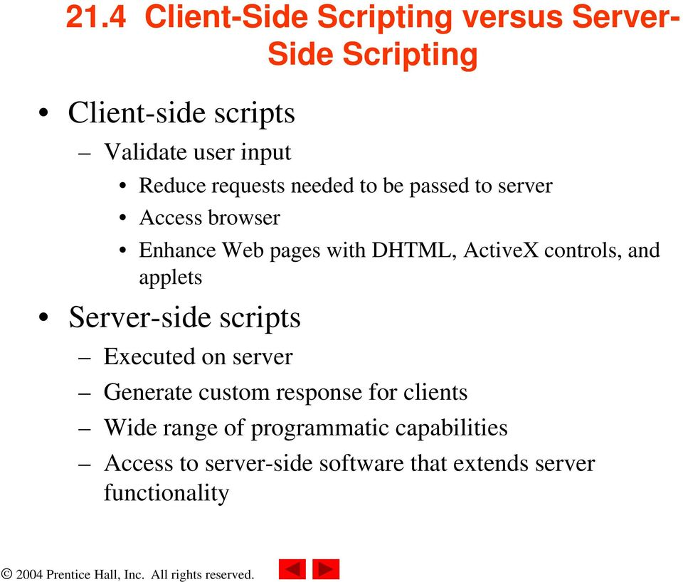 controls, and applets Server-side scripts Executed on server Generate custom response for clients