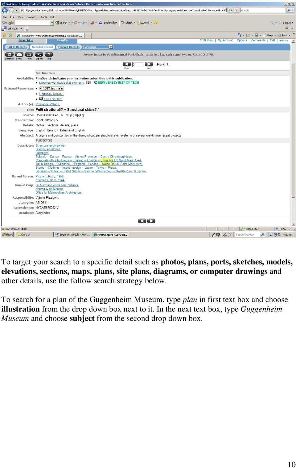 To search for a plan of the Guggenheim Museum, type plan in first text box and choose illustration from the drop