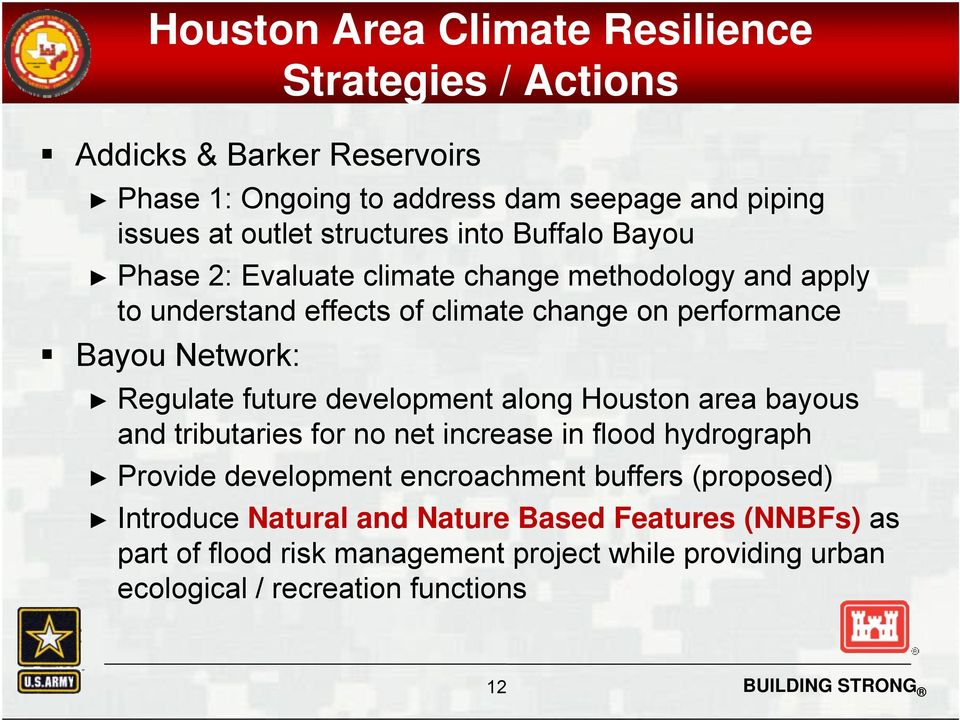 Regulate future development along Houston area bayous and tributaries for no net increase in flood hydrograph Provide development encroachment buffers