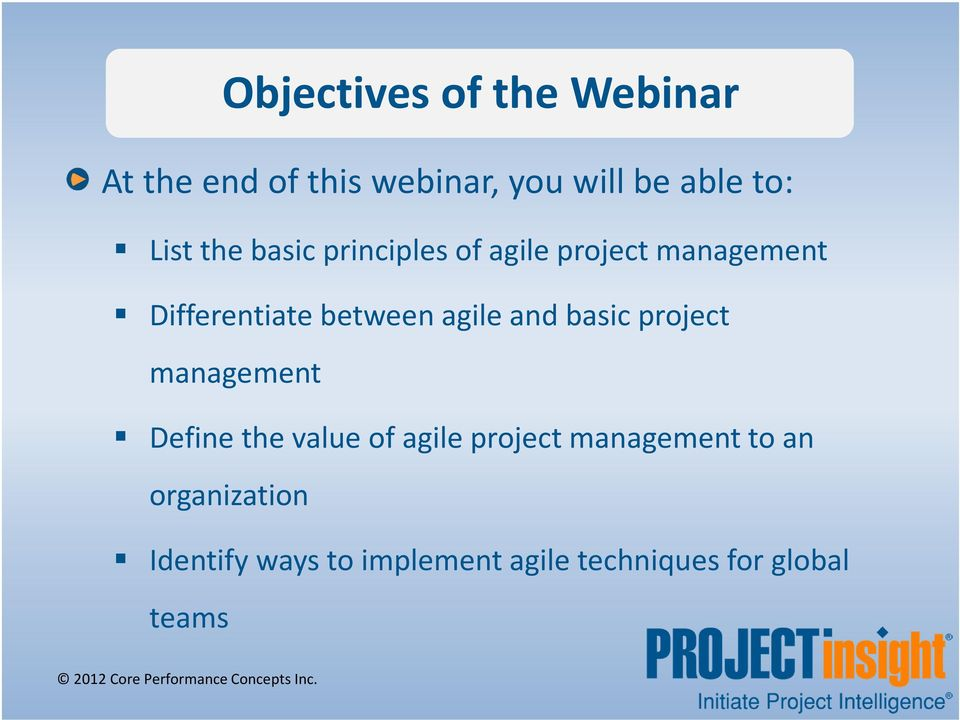 agile and basic project management Define the value of agile project