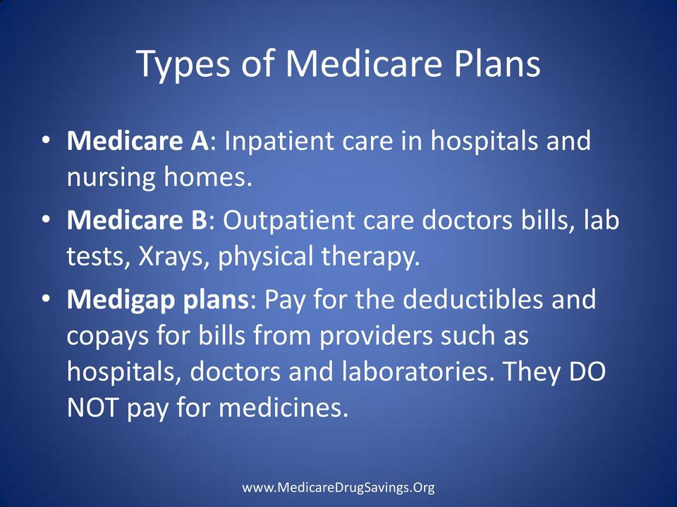 Medicare B: Outpatient care doctors bills, lab tests, Xrays, physical therapy.