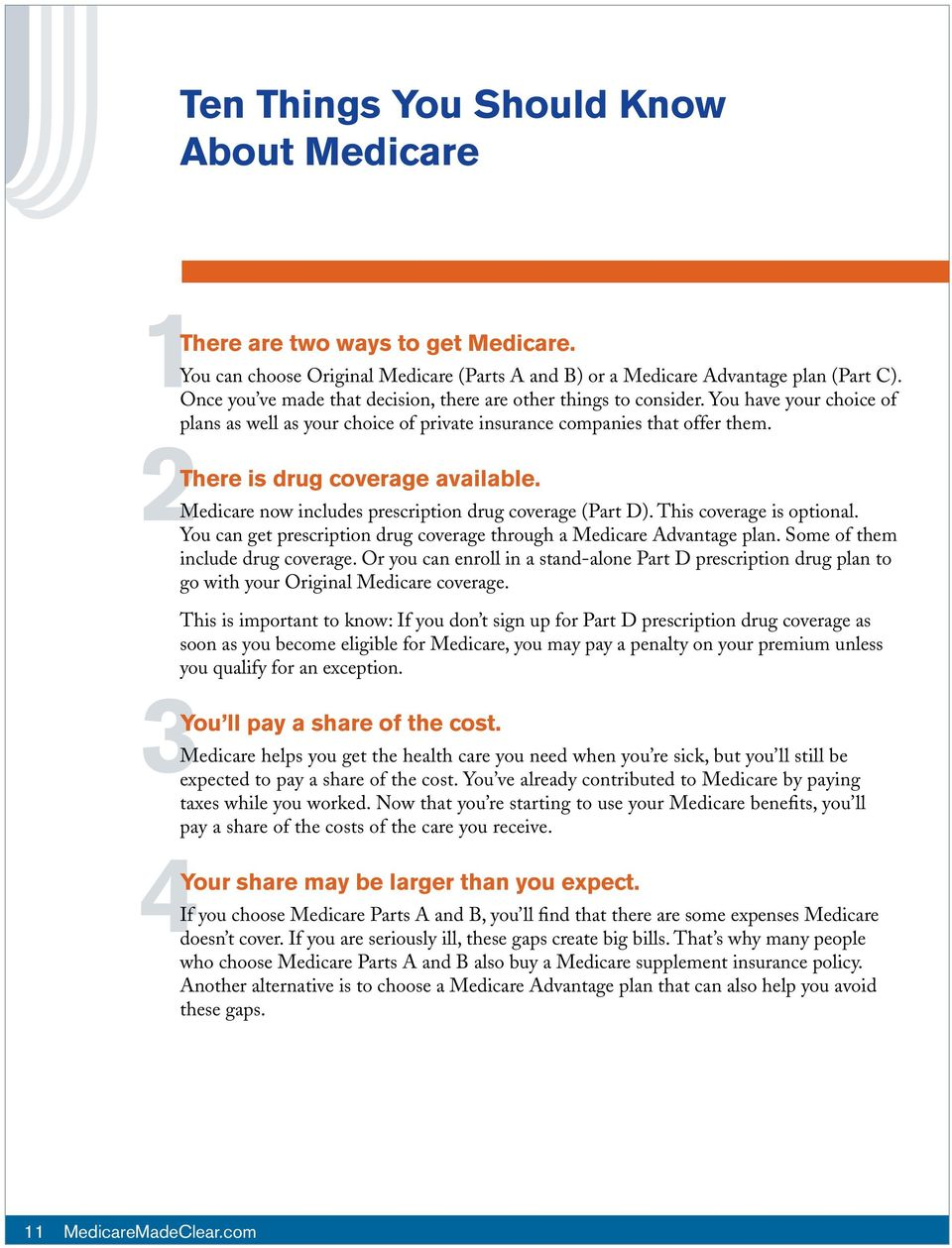 2There is drug coverage available. Medicare now includes prescription drug coverage (Part D). This coverage is optional. You can get prescription drug coverage through a Medicare Advantage plan.