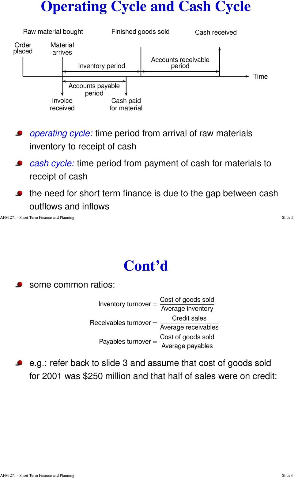 cash the need for short term finance is due to the gap between cash outflows and inflows AFM 271 - Short Term Finance and Planning Slide 5 some common ratios: Inventory turnover = Receivables