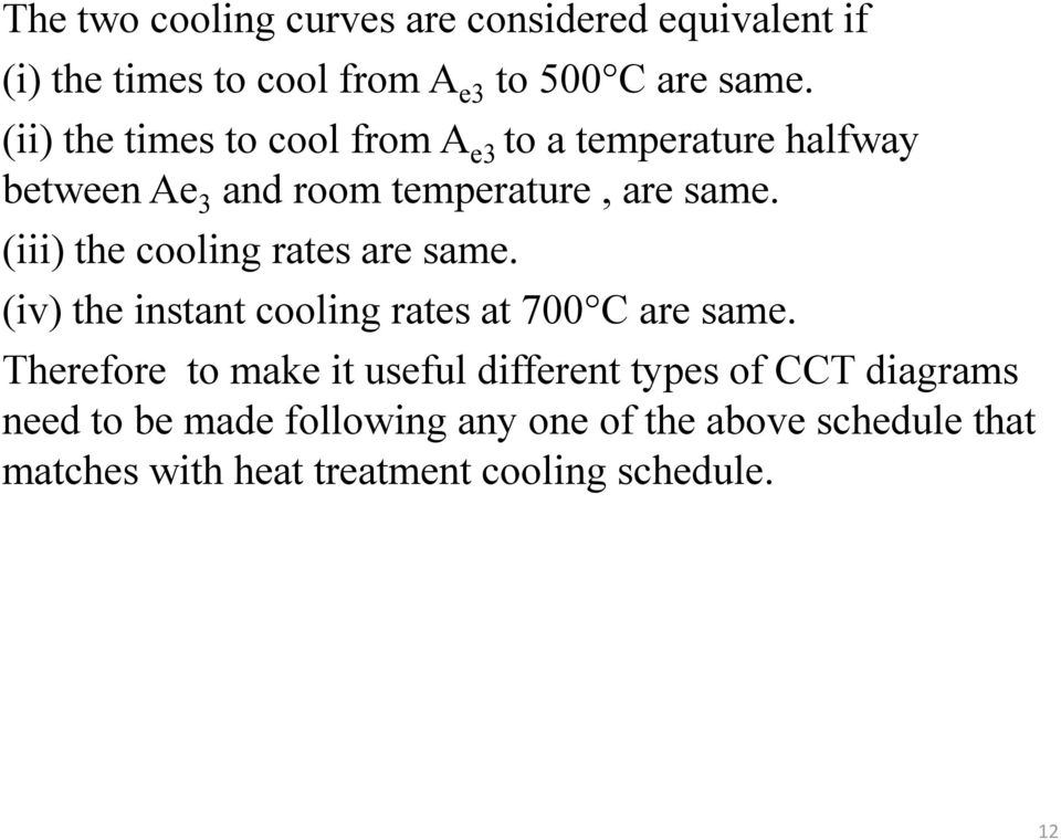 (iii) the cooling rates are same. (iv) the instant cooling rates at 700 C are same.