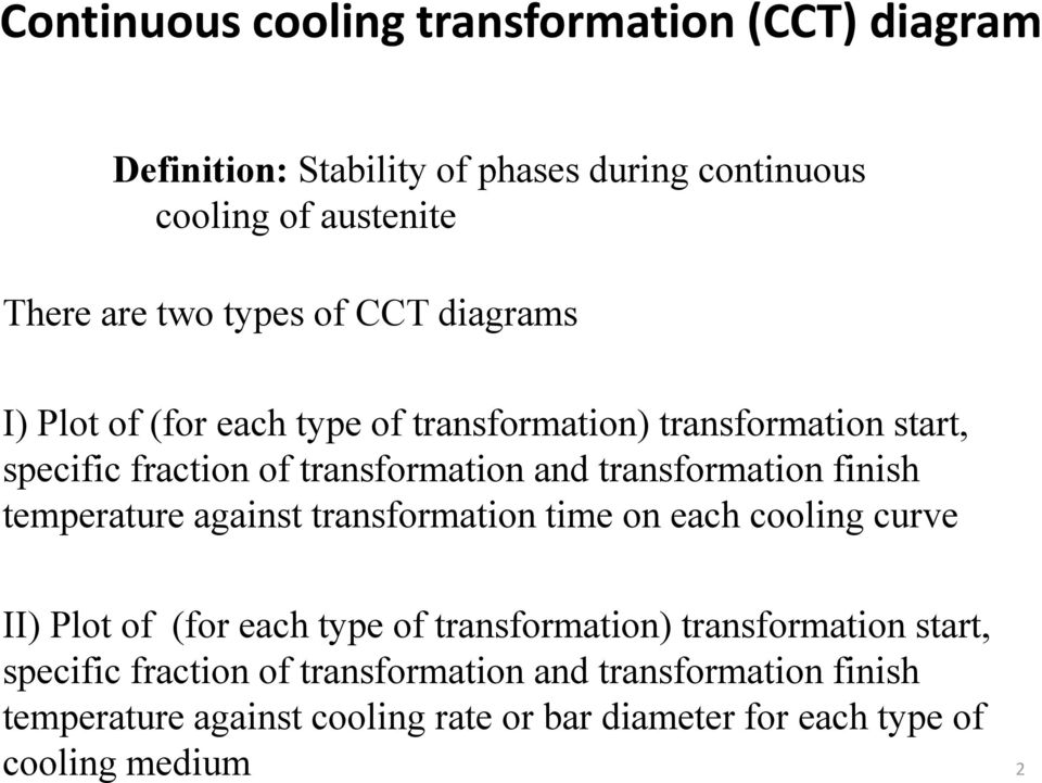 finish temperature against transformation time on each cooling curve II) Plot of (for each type of transformation) transformation start,