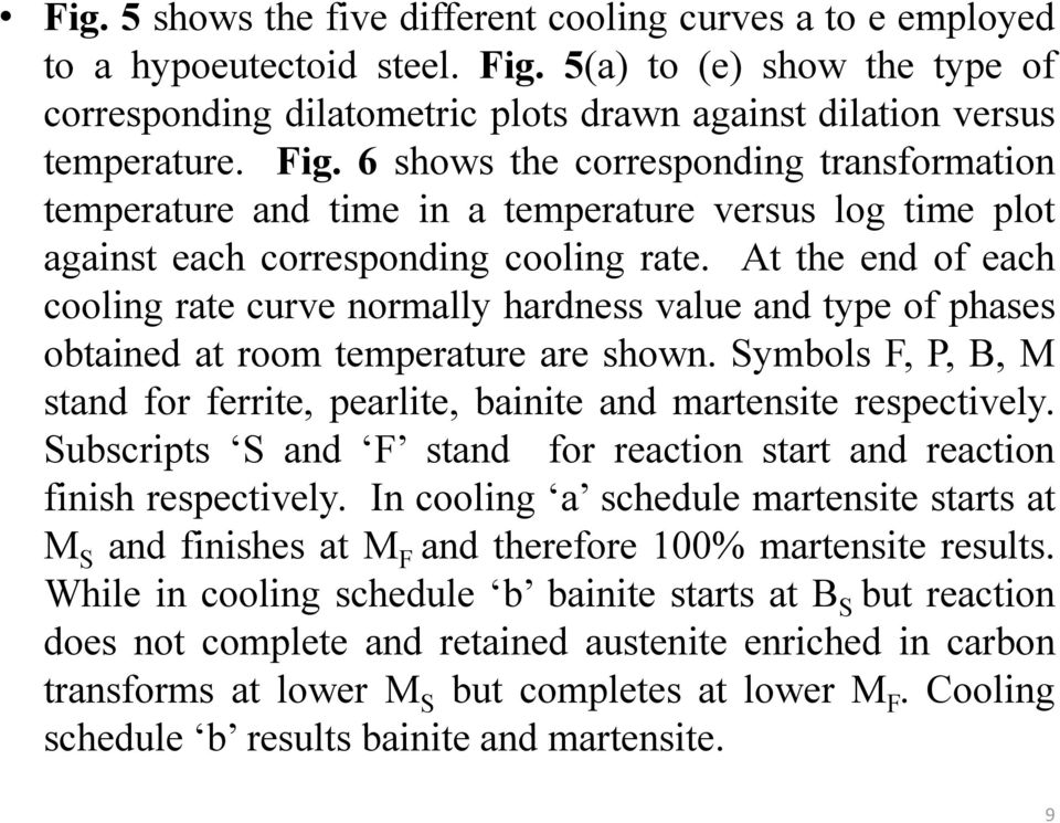At the end of each cooling rate curve normally hardness value and type of phases obtained at room temperature are shown.