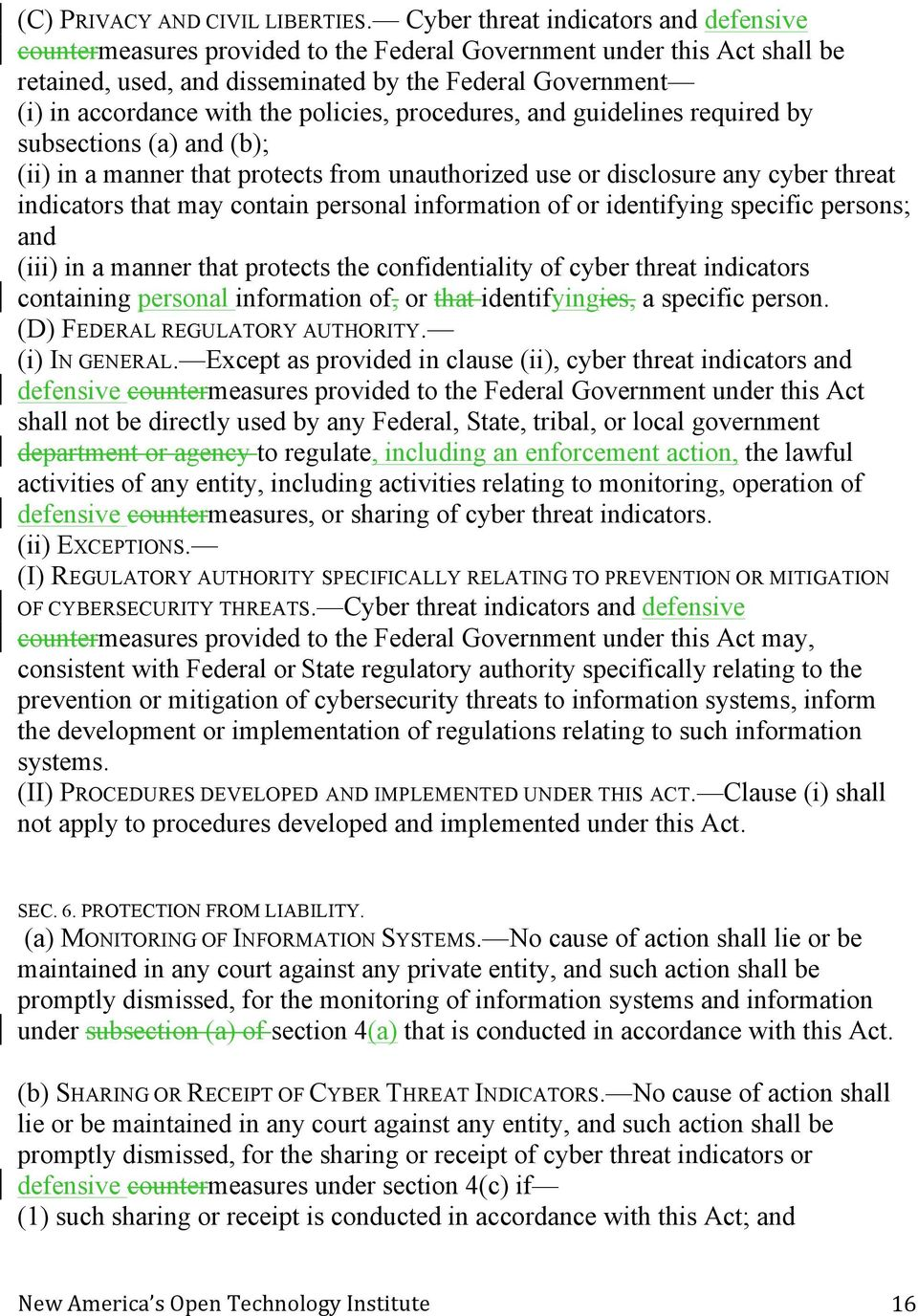 policies, procedures, and guidelines required by subsections (a) and (b); (ii) in a manner that protects from unauthorized use or disclosure any cyber threat indicators that may contain personal