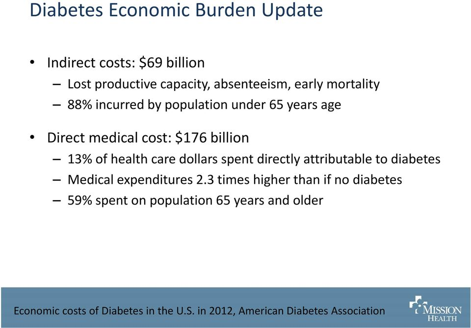 dollars spent directly attributable to diabetes Medical expenditures 2.