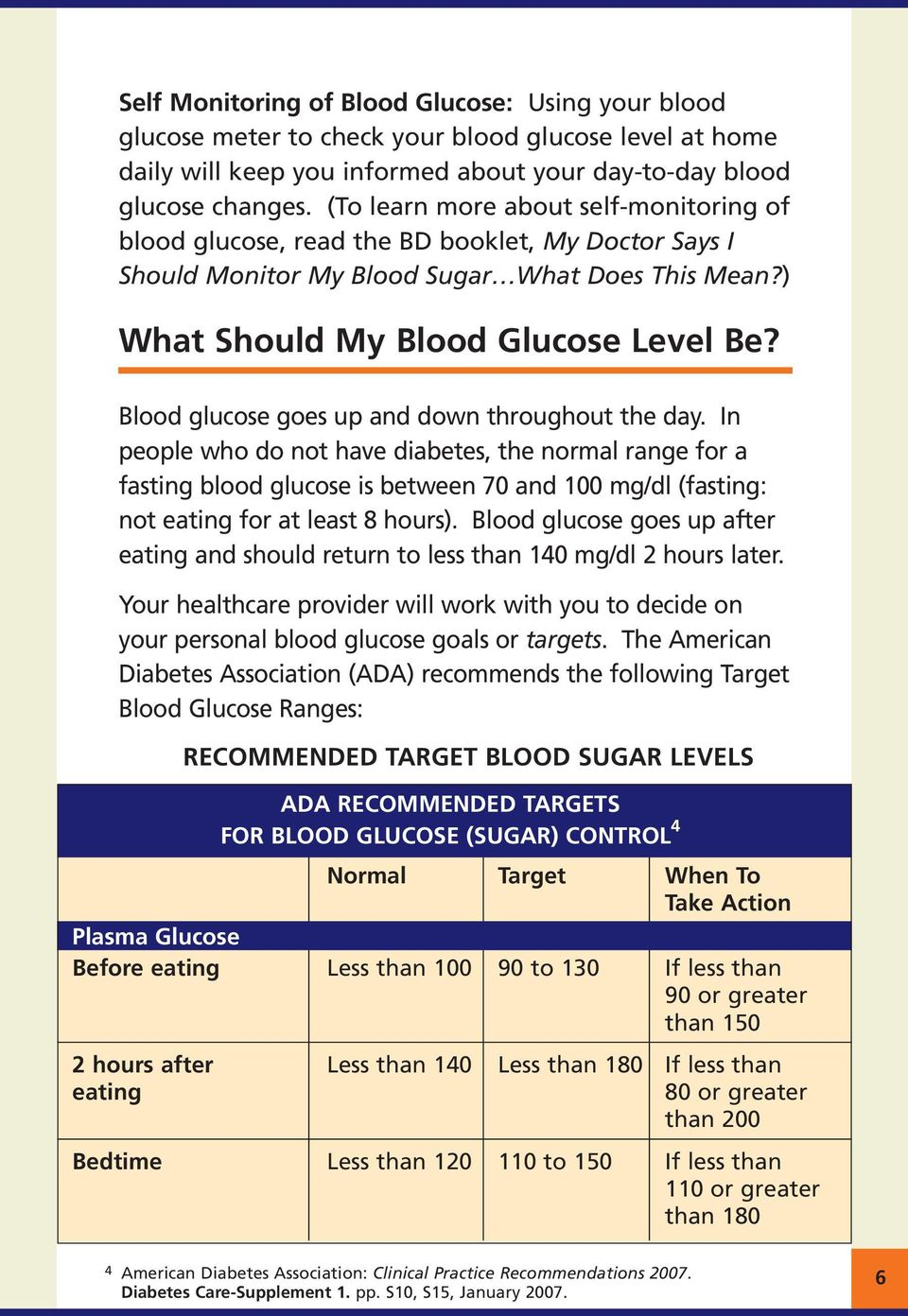 Blood glucose goes up and down throughout the day.