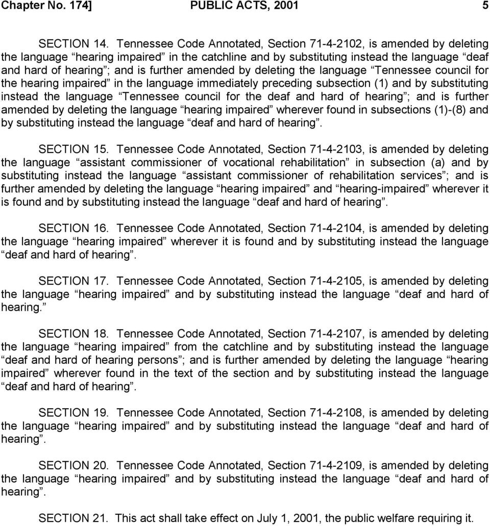 amended by deleting the language Tennessee council for the hearing impaired in the language immediately preceding subsection (1) and by substituting instead the language Tennessee council for the