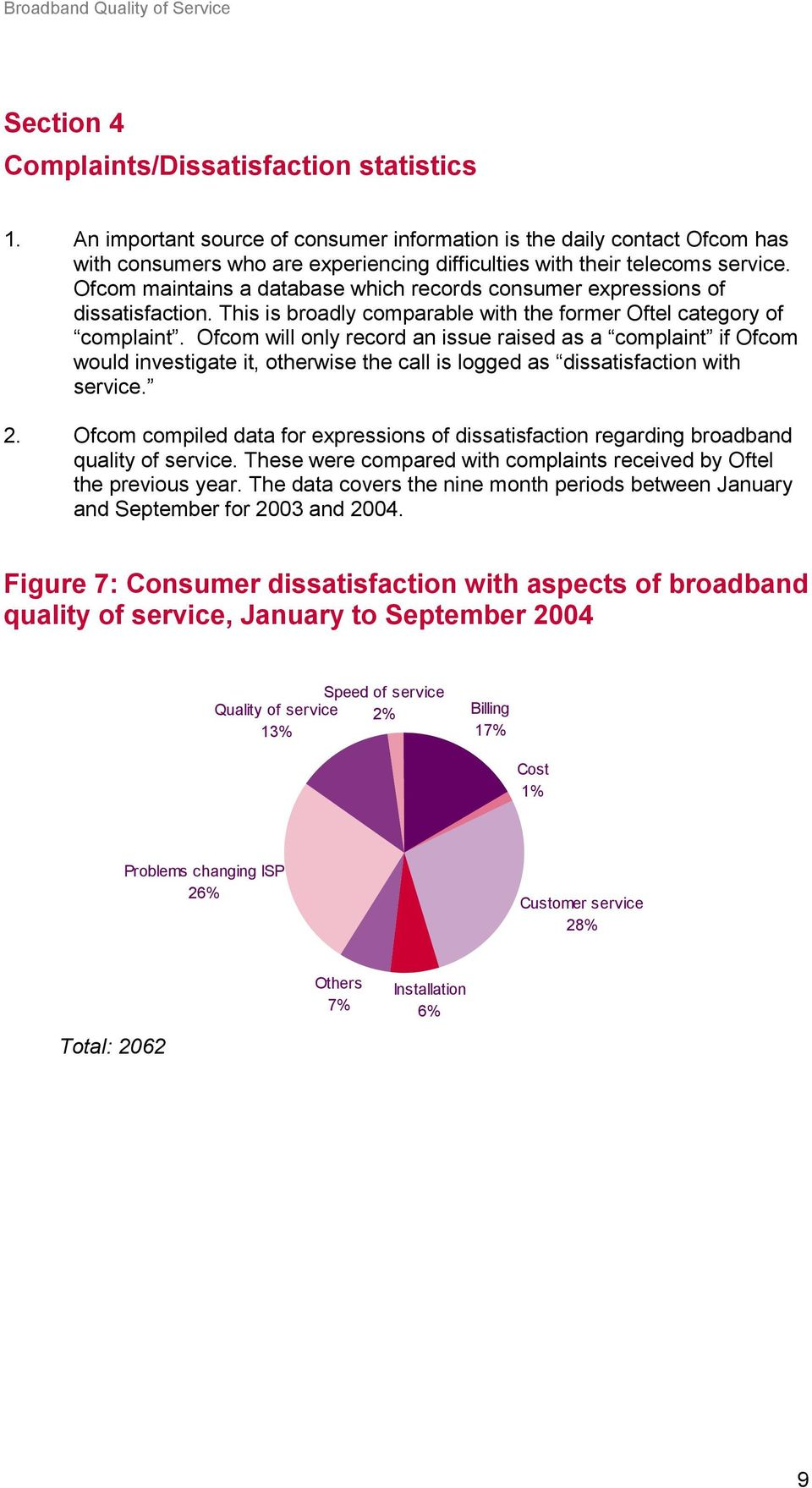 Ofcom maintains a database which records consumer expressions of dissatisfaction. This is broadly comparable with the former Oftel category of complaint.