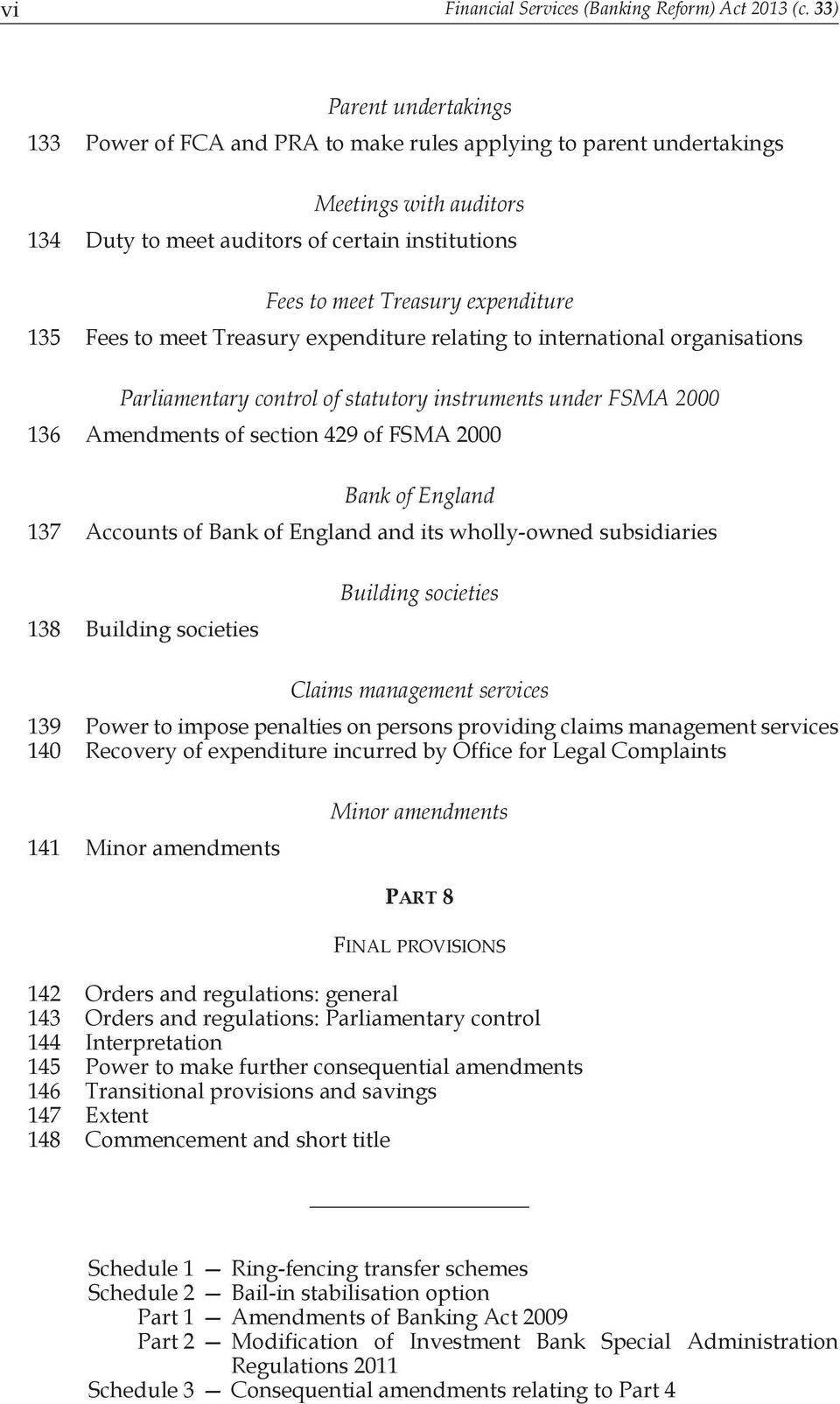 expenditure 135 Fees to meet Treasury expenditure relating to international organisations Parliamentary control of statutory instruments under FSMA 2000 136 Amendments of section 429 of FSMA 2000