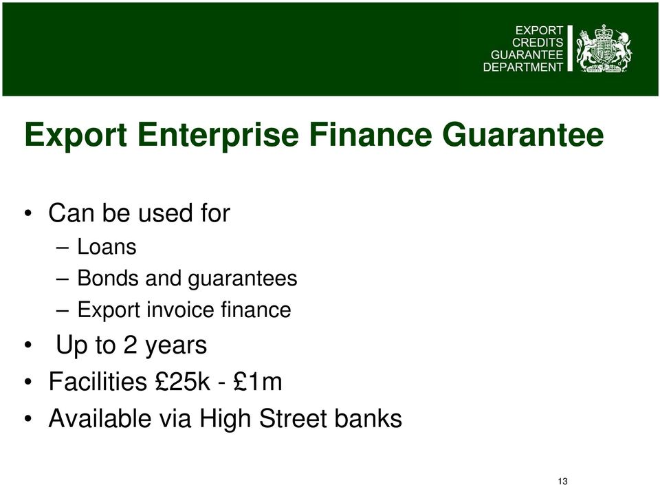 invoice finance Up to 2 years Facilities