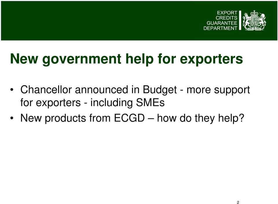 support for exporters - including SMEs