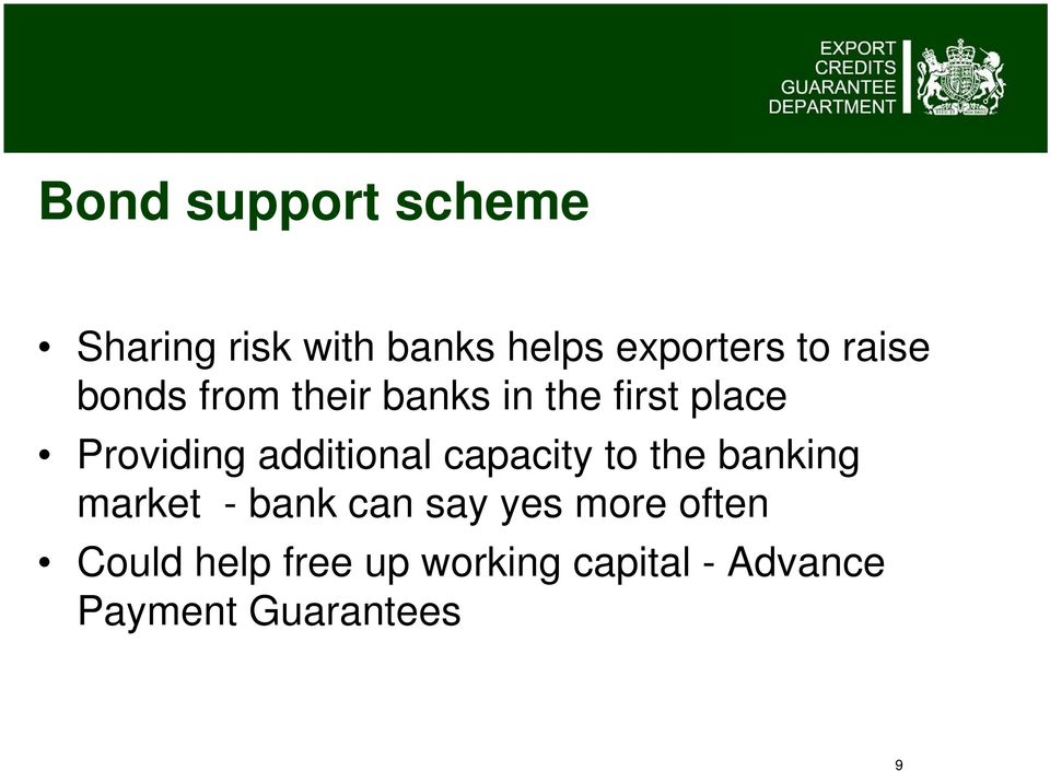 additional capacity to the banking market - bank can say yes