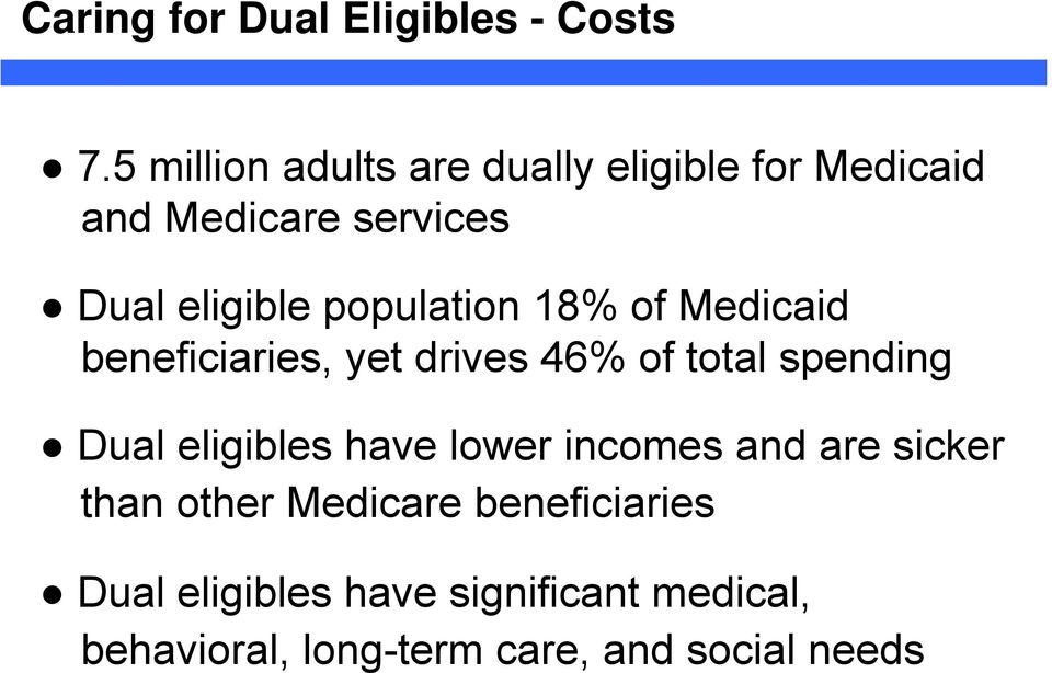 population 18% of Medicaid beneficiaries, yet drives 46% of total spending Dual eligibles