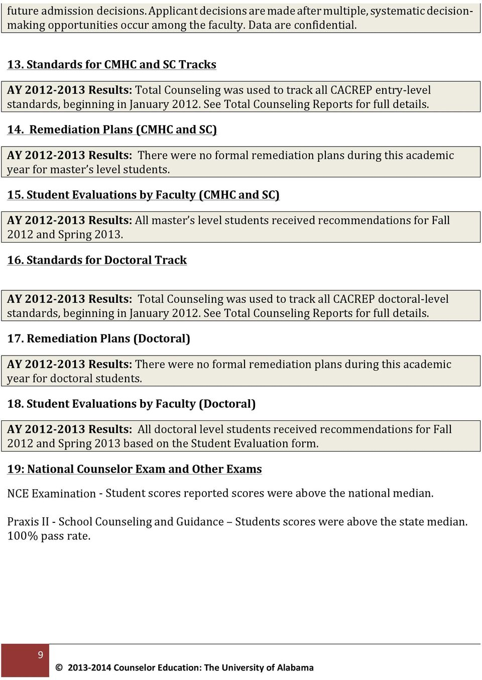 14. Remediation Plans (CMHC and SC) AY 2012-2013 Results: There were no formal remediation plans during this academic year for master s level students. 15.