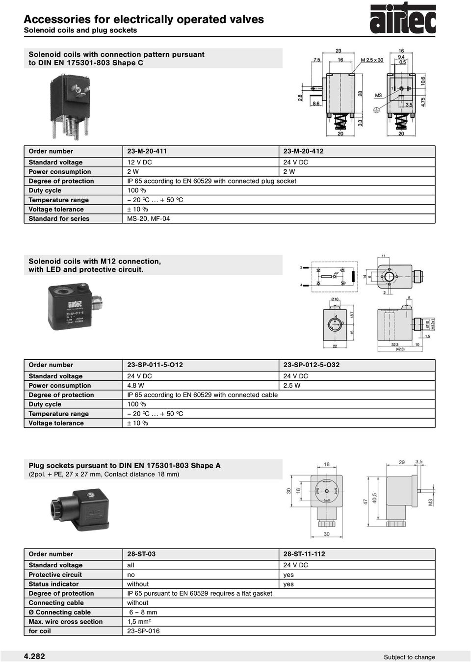 .. + 50 hc Standard for series MS-20, MF-04 Solenoid coils with M12 connection, with LED and protective circuit.