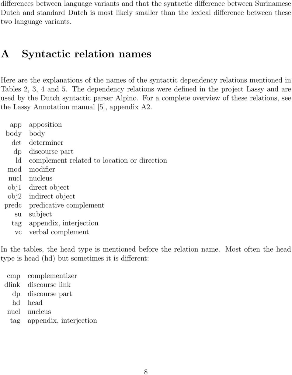 The dependency relations were defined in the project Lassy and are used by the Dutch syntactic parser Alpino.