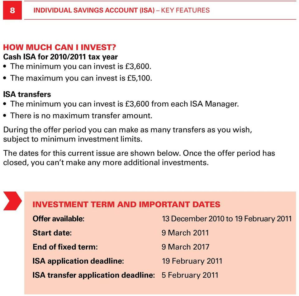 During the offer period you can make as many transfers as you wish, subject to minimum investment limits. The dates for this current issue are shown below.