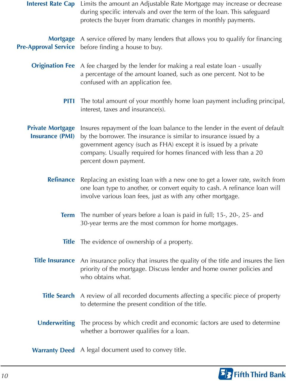 Mortgage Pre-Approval Service A service offered by many lenders that allows you to qualify for financing before finding a house to buy.