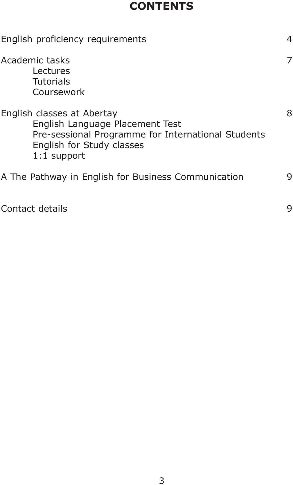 Test Pre-sessional Programme for International Students English for Study