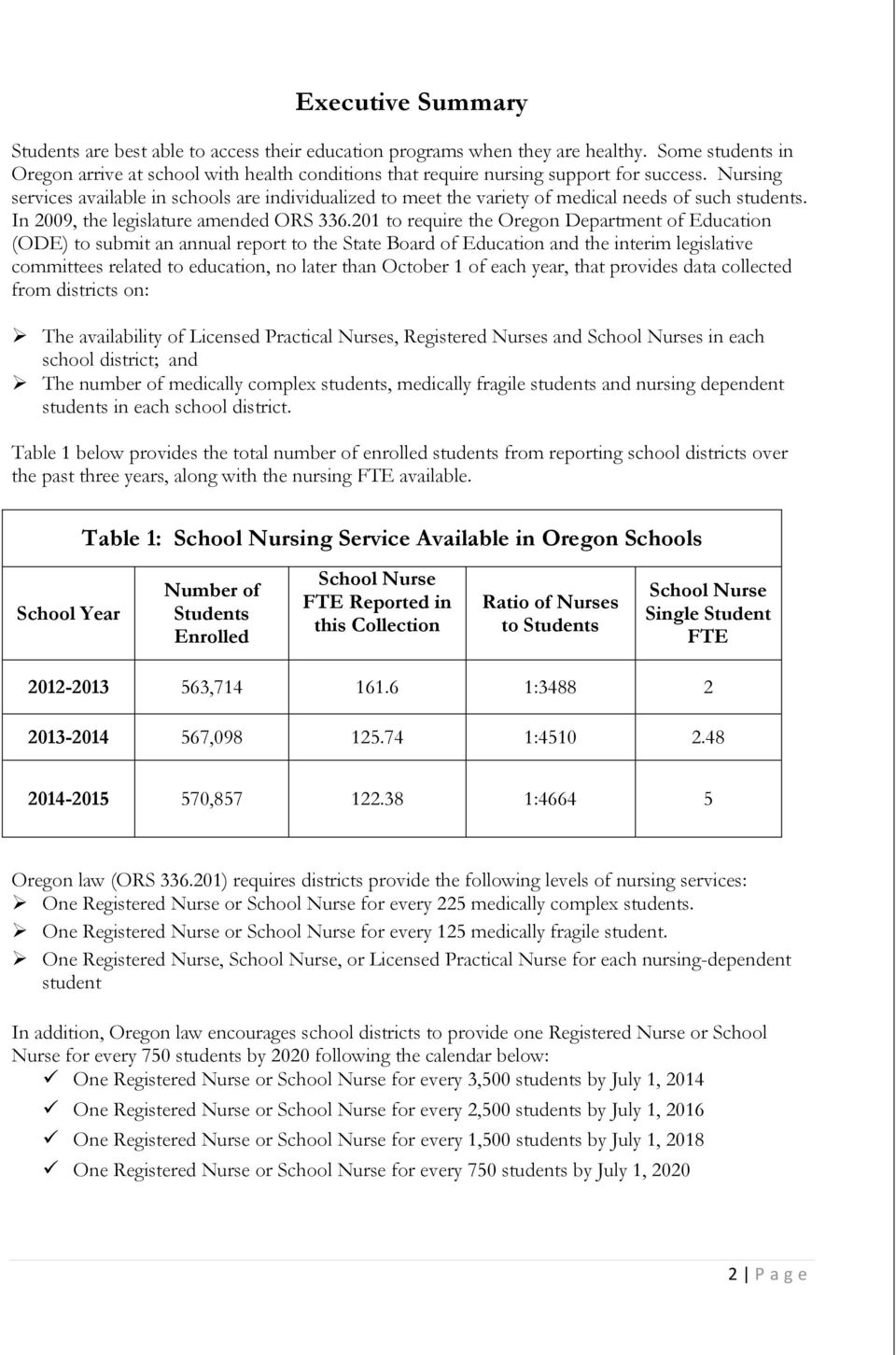 201 to require the Oregon Department of Education (ODE) to submit an annual report to the State Board of Education and the interim legislative committees related to education, no later than October 1