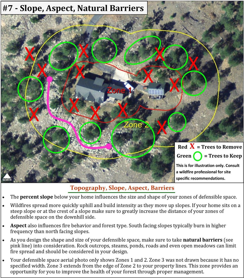 If your home sits on a steep slope or at the crest of a slope make sure to greatly increase the distance of your zones of defensible space on the downhill side.
