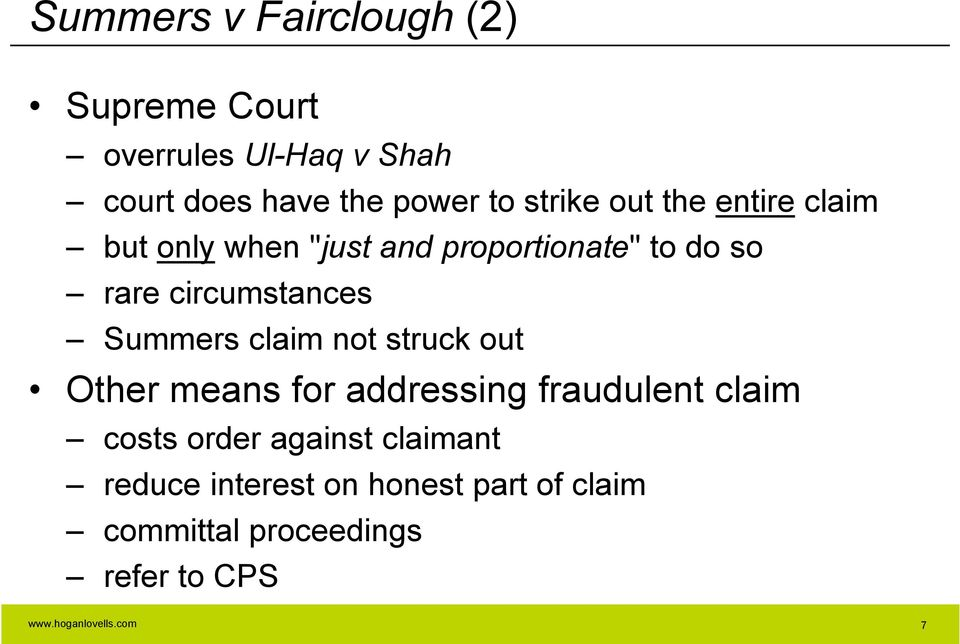 circumstances Summers claim not struck out Other means for addressing fraudulent claim