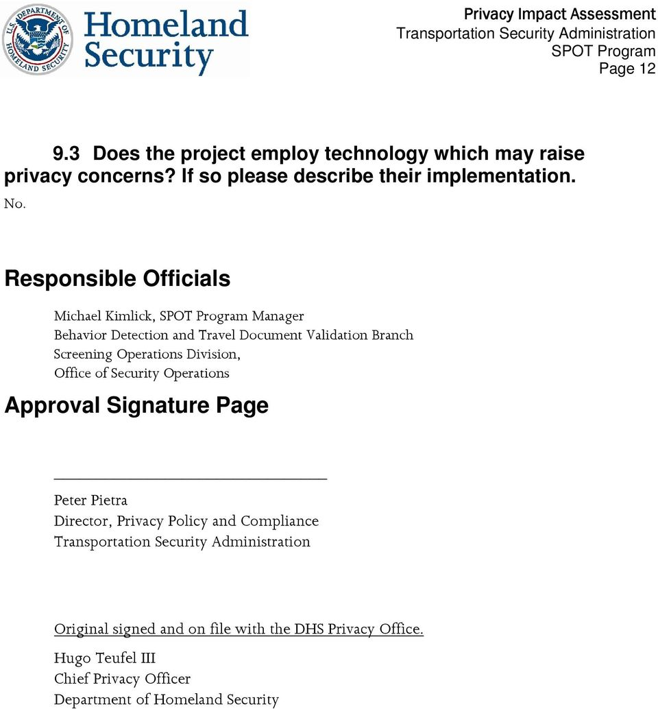 Operations Division, Office of Security Operations Approval Signature Page Peter Pietra Director, Privacy Policy and