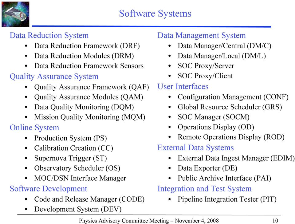 Manager Software Development Code and Release Manager (CODE) Development System (DEV) Software Systems Data Management System Data Manager/Central (DM/C) Data Manager/Local (DM/L) SOC Proxy/Server