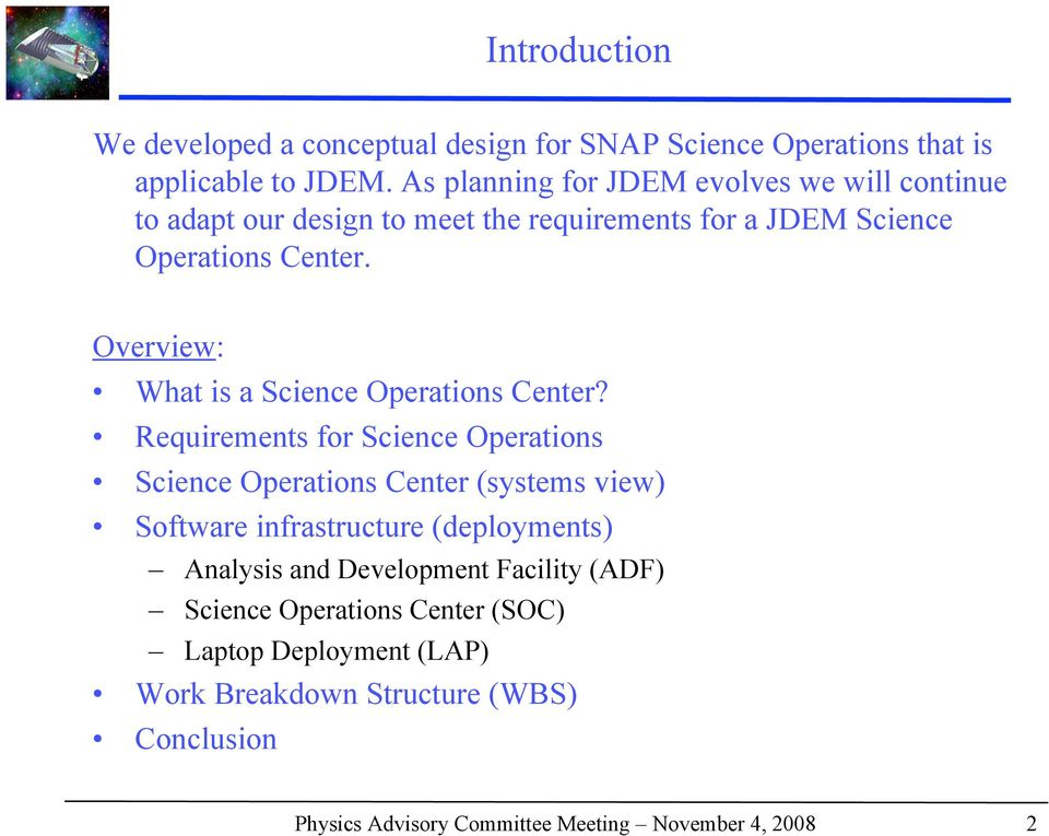 Overview: What is a Science Operations Center?