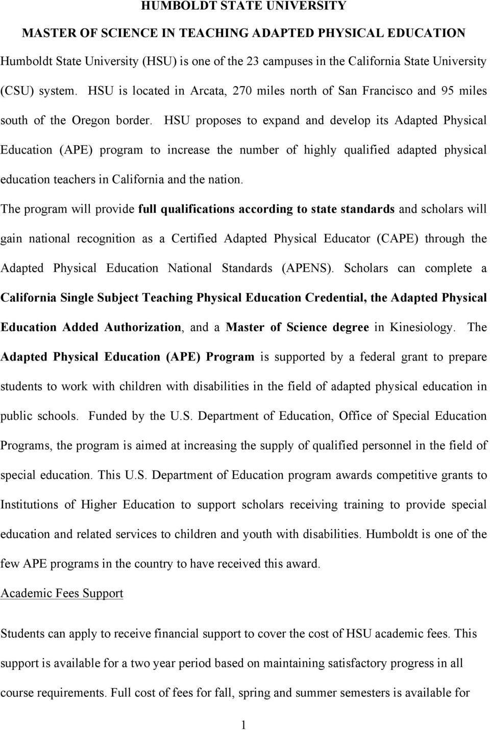Humboldt State University Master Of Science In Teaching