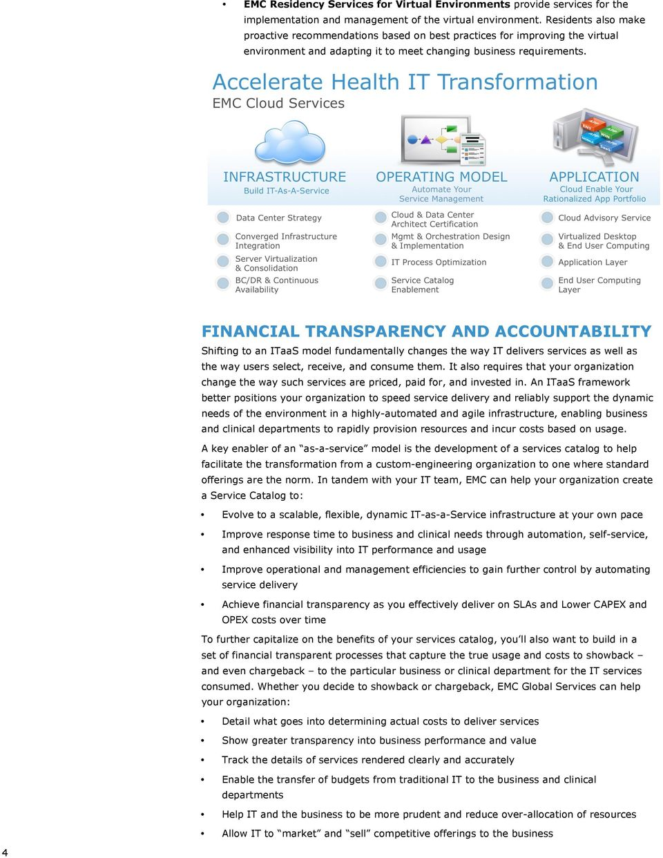 FINANCIAL TRANSPARENCY AND ACCOUNTABILITY Shifting to an ITaaS model fundamentally changes the way IT delivers services as well as the way users select, receive, and consume them.