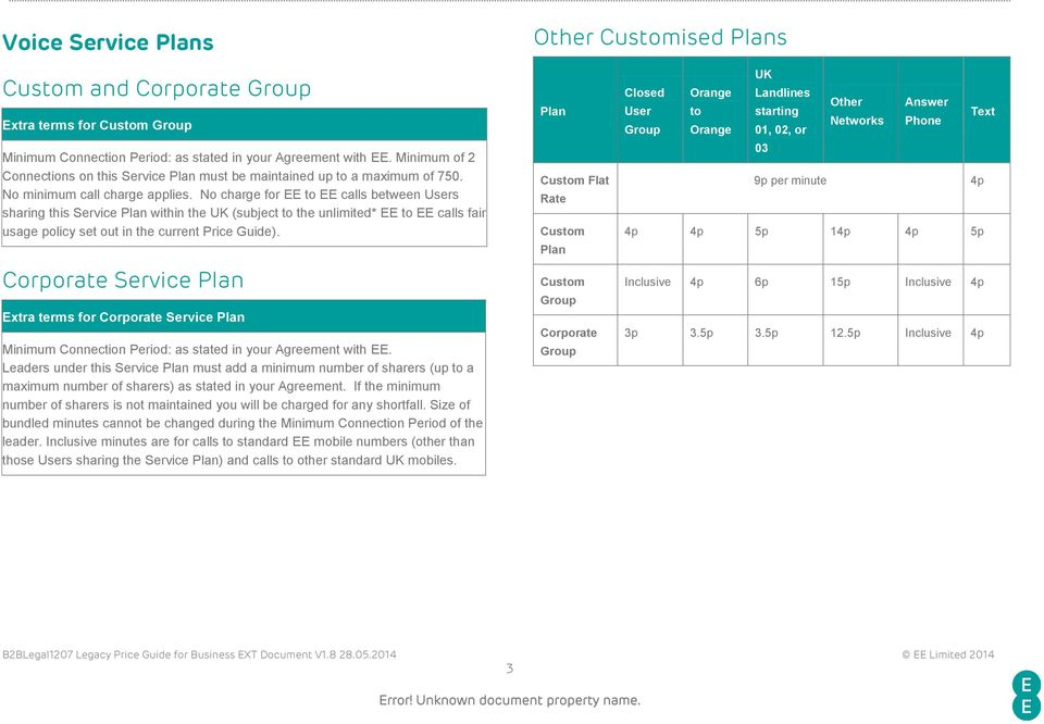 No charge for EE to EE calls between Users sharing this Service Plan within the UK (subject to the unlimited* EE to EE calls fair usage policy set out in the current Price Guide).