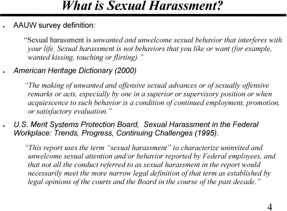 discrimination and sexual harassment definition and types Common examples of workplace harassment and what kind of behavior is against the law phone: (212)  these examples can help you understand some of the types of harassment that lead to a legal claim  gender discrimination, sexual harassment blog & news topics personal injury.