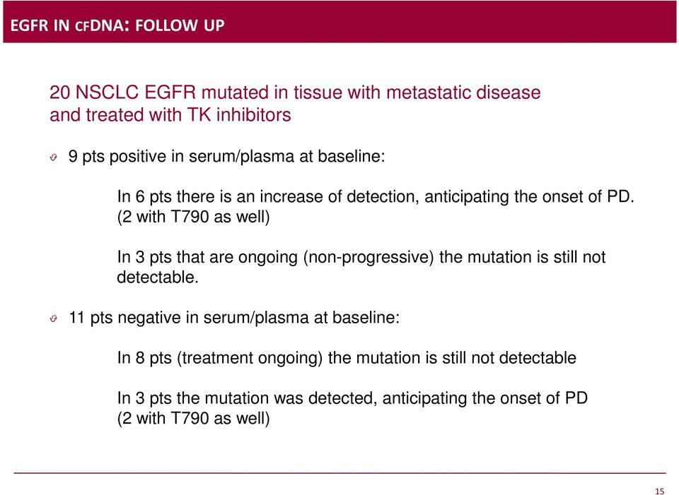 (2 with T790 as well) In 3 pts that are ongoing (non-progressive) the mutation is still not detectable.