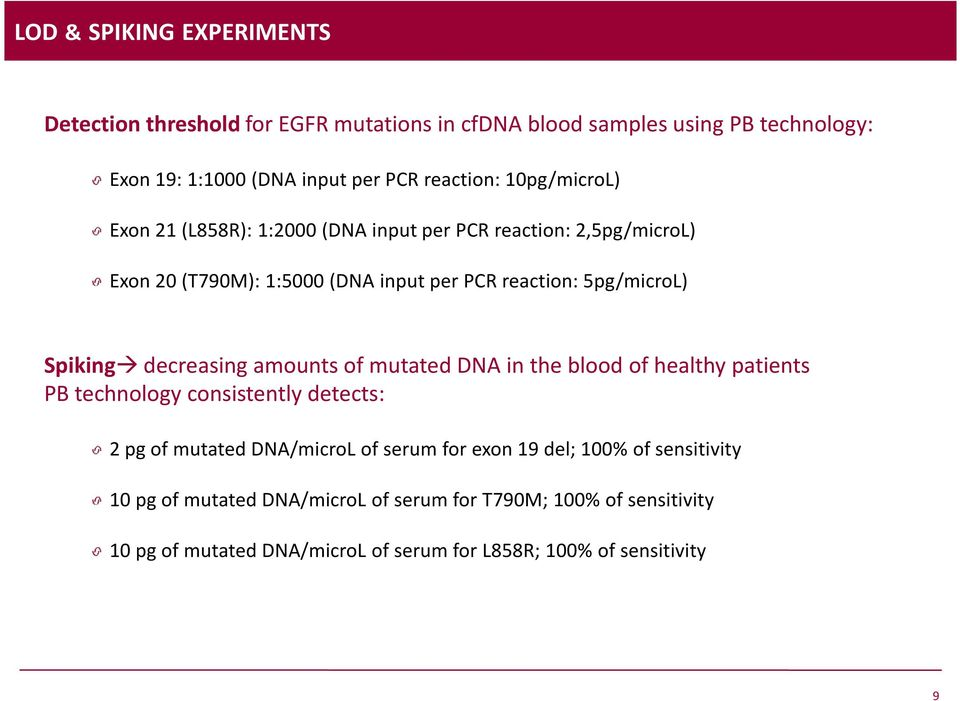 Spiking decreasing amounts of mutated DNA in the blood of healthy patients PB technology consistently detects: