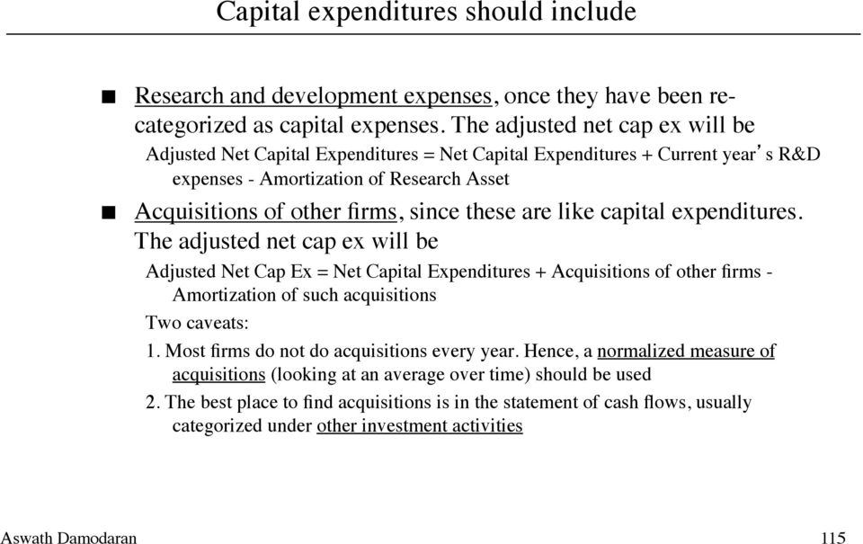are like capital expenditures. The adjusted net cap ex will be Adjusted Net Cap Ex = Net Capital Expenditures + Acquisitions of other firms - Amortization of such acquisitions Two caveats: 1.