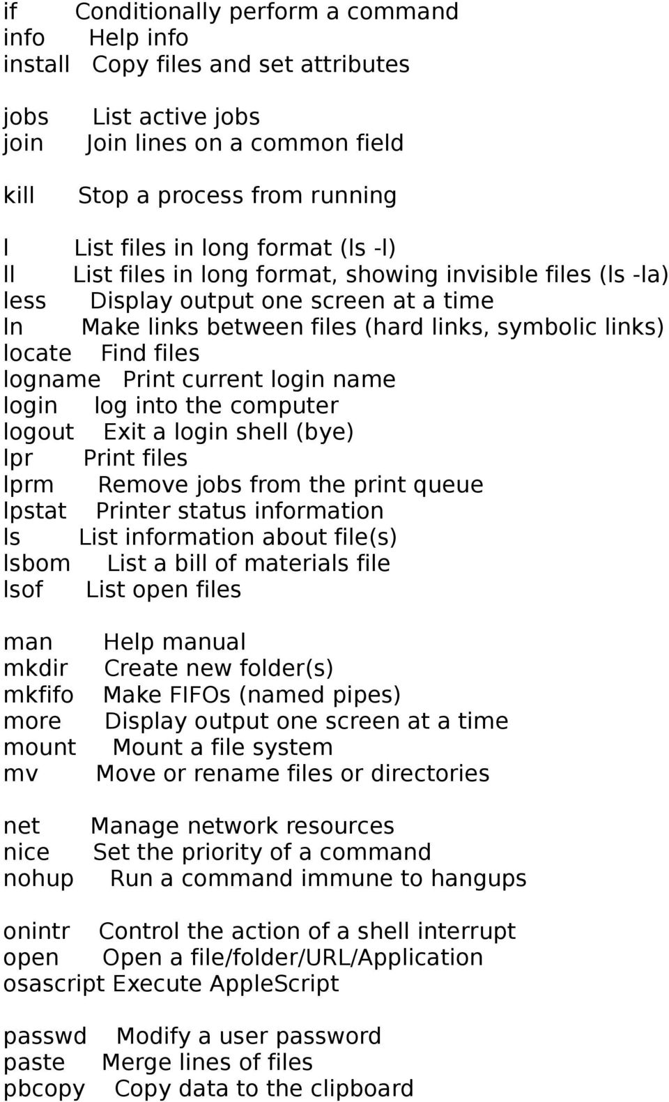 An A-Z Index of the Apple OS X command line (TERMINAL) The