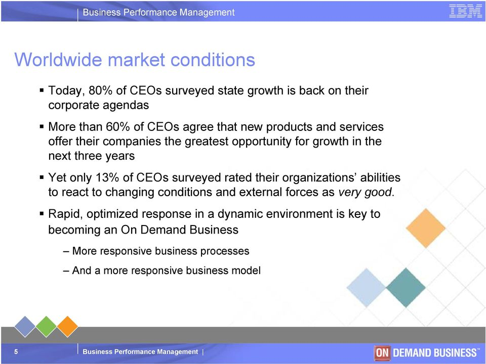 surveyed rated their organizations abilities to react to changing conditions and external forces as very good.