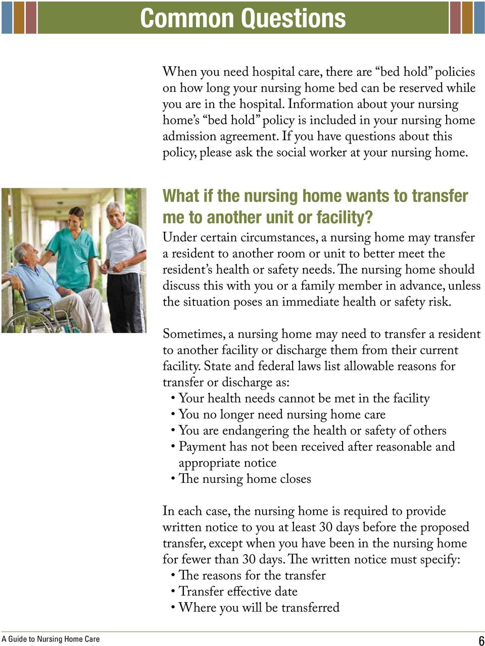 What if the nursing home wants to transfer me to another unit or facility?